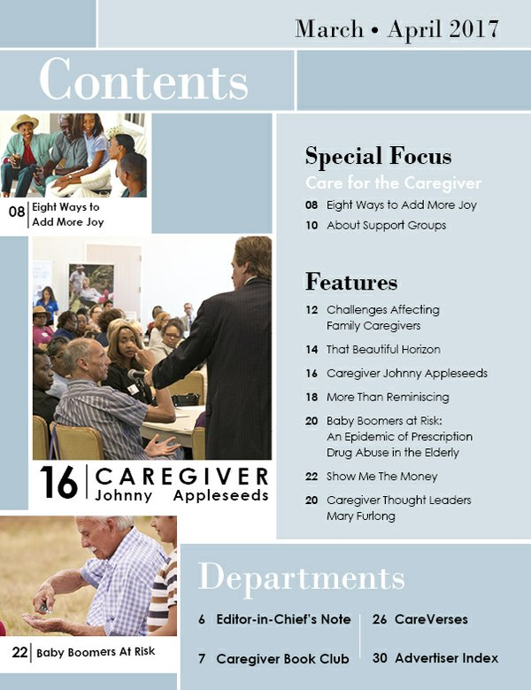 Today's Caregiver magazine March/April Issue Table of Contents