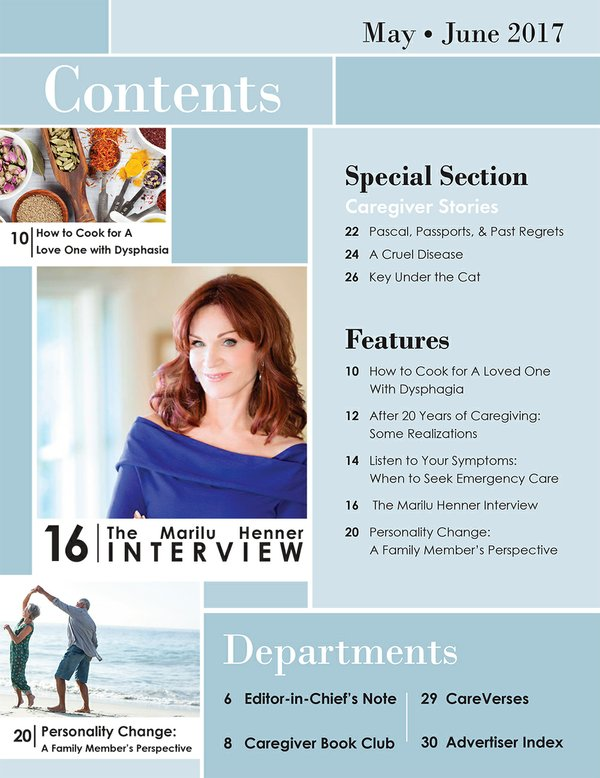 Today's Caregiver magazine May/June Issue Table of Contents