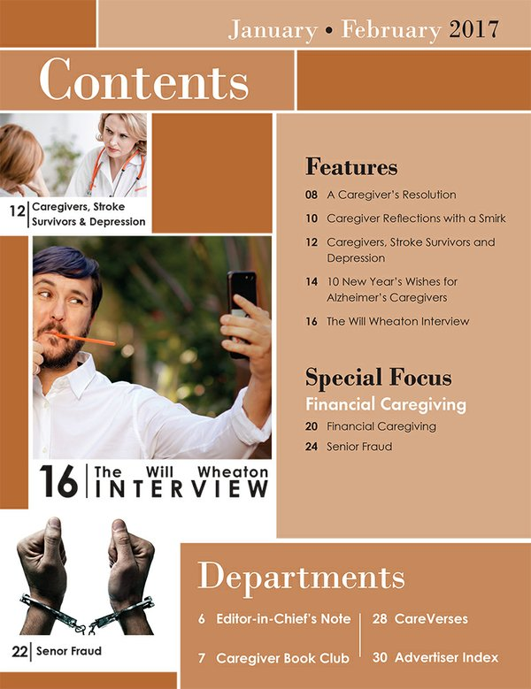 Today's Caregiver magazine January/February Issue Table of Contents