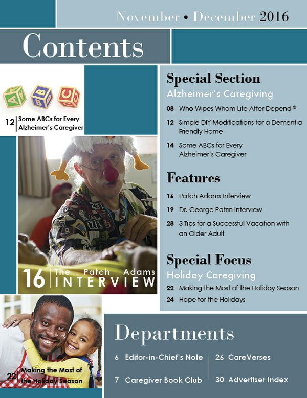 Today's Caregiver magazine November/December Issue - Contents