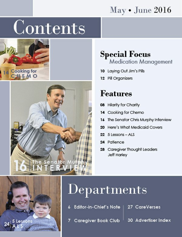 Remove Today's Caregiver magazine May/June Issue - Contents