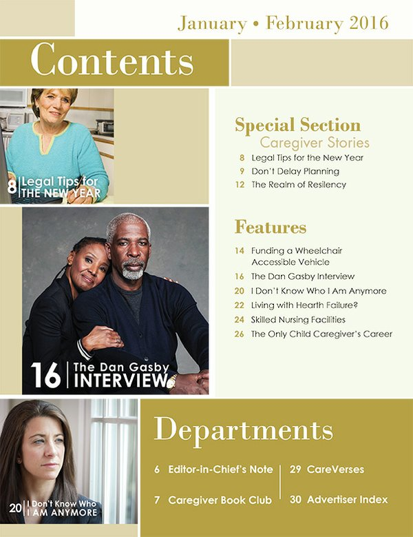 Today's Caregiver magazine Jan/Feb Issue - Contents